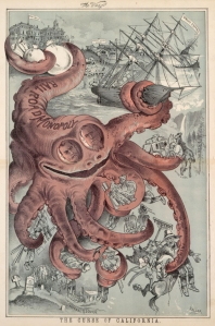 A cartoon showing the Southern Pacific Railroad as an Octopus, an image that Frank Norris used as the title of his book which lightly fictionalises the Mussel Slough confrontation in a way that is heavily sympathetic to the settlers.